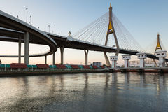 Industrial Ring Road Suspension Bridge Royalty Free Stock Photography