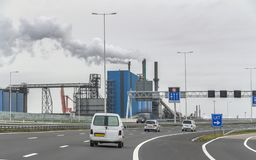 Industrial roadside scenery royalty free stock photography