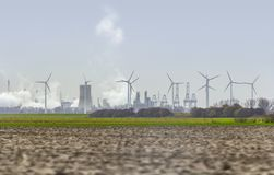 Industrial roadside scenery stock photography