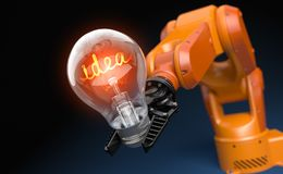 Industrial robot arm. Holding light bulb. 3D illustration stock illustration