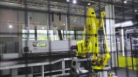 Industrial robot arm, industrial robot manipulator work at factory