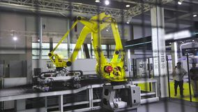 Industrial Robot Arm, Industrial robot manipulator work at factory.  stock footage