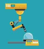 Industrial robot arm working Stock Photo
