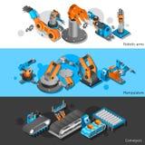 Industrial robot banner set Stock Photos