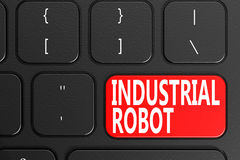 Industrial Robot on black keyboard. 3D rendering Stock Photography