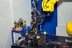 Industrial robot, close up of metal processing Stock Images