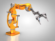 Industrial robot. 3D rendering: robotic hydraulic arm Stock Image