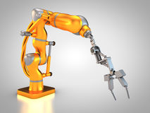 Industrial robot. 3D rendering: robotic hydraulic arm Stock Photos