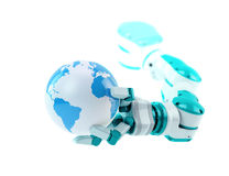 Industrial robot holding a small globe Stock Photo