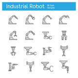 Industrial robot line icons Stock Photo