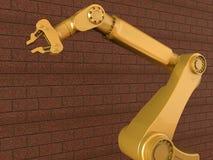 Industrial robot manipulator - bricks background. 3D render illustration of a industrial robot manipulator. The composition is positioned on a brick background vector illustration