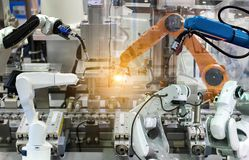 Industrial robot mechanical arm of Electronic Parts Manufacturing. Industrial robot 4.0 mechanical arm of Electronic Parts Manufacturing stock images