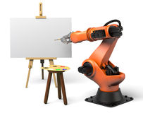 Industrial robot painting. Very high resolution 3d rendering of an industrial robot painting Stock Photography