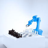 Industrial robot playing chess Royalty Free Stock Image