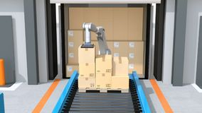 Industrial robot unloading parcels from semi truck. Automatic Guided Vehicle carrying set of pallets to the robot`s position. Concept for logistics automation stock video