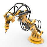 Industrial robot. A yellow industrial robot is operating hydraulically Royalty Free Stock Images