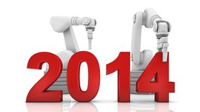 Industrial robotic arm building 2014. Year on white background Stock Photos
