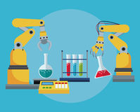 Industrial robotic arm chemical test tube laboratory Royalty Free Stock Image