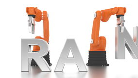 Industrial robotic arms building brand word stock footage