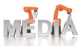 Industrial robotic arms building MEDIA word Royalty Free Stock Images