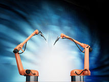 Industrial Robotic Arms Royalty Free Stock Photography