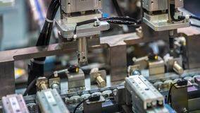 Industrial Robotic Machinery In Manufacturing Line stock photo