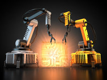 Industrial robots with circuit board. 3D rendering: Industrial robots are producing circuit boards in a factory Stock Photo