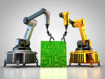 Industrial robots with circuit board. 3D rendering: Industrial robots are producing circuit boards in a factory Stock Image