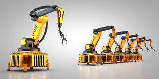 Industrial robots. 3D rendering: Industrial robots are operating Stock Photo