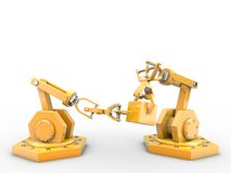 Industrial robots. Grab for a cube Royalty Free Stock Photos