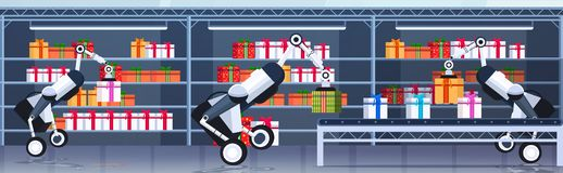 Free Industrial Robots Loading Gift Present Boxes On Conveyor Belt Merry Christmas Happy New Year Celebration Concept Modern Royalty Free Stock Images - 162891049