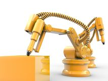 Industrial robots. Are operating in a factory Royalty Free Stock Image