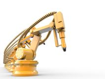 Industrial robots. Are operating in a factory Stock Images
