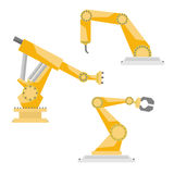 Industrial robots vector set. Industrial manufacturing robots vector flat style set Stock Photo