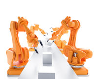 Industrial robots. Working on a production line