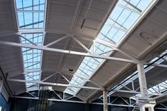 Industrial roof at the factory. Roof in production with glazing to penetrate sunlight stock photography