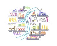 Industrial round area plants illustration district of the city Stock Photography
