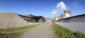 Industrial ruin and new factory royalty free stock photography