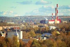 Industrial russian autmn cityscape Stock Photos