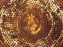 Industrial rusty metal background. Background sheet metal with rust and holes Stock Photo