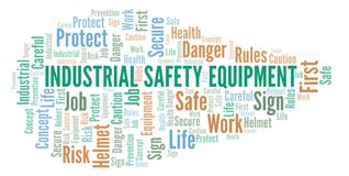 Industrial Safety Equipment word cloud. Word cloud made with text only royalty free illustration