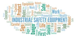 Industrial Safety Equipment word cloud. Word cloud made with text only stock illustration