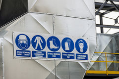 Industrial safety pictogram with polish description. Royalty Free Stock Photos