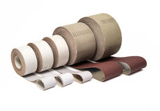 Industrial sand papers in ong rolls Stock Image