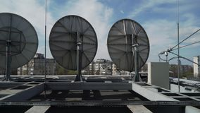 Industrial satellite dishes on the roof.  stock video footage