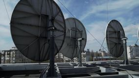 Industrial satellite dishes on the roof in Kyiv.  stock video