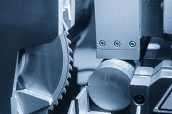 The industrial saw for  cutting  the metal rod Stock Photo
