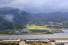 Industrial sawmill area in Namsos, Norway. Aerial view of the river Namsen, sawmill industrial area in the town Namsos, Norway Stock Photos