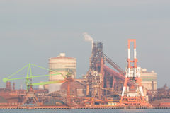 Industrial scene background. Landscape of industry at port. Stock Photos