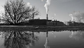 Industrial Scene: Cleveland, Ohio, USA. Smoke stacks of Cleveland, Ohio, USA Royalty Free Stock Photo